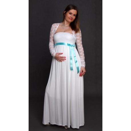 a5fab051b232 Tehotenské svadobné šaty s bolerkom - biele - Mamimodi.sk