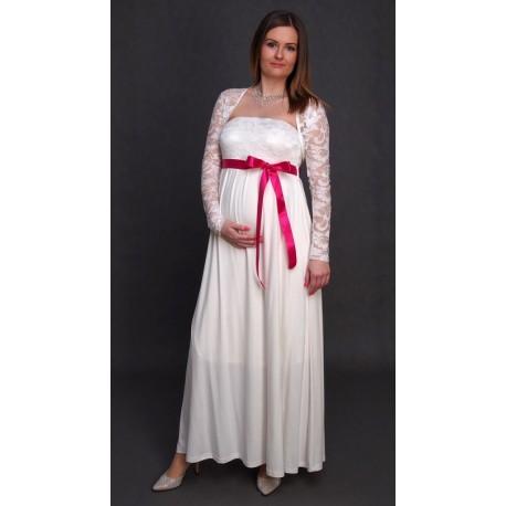 b7341da9ce Tehotenské svadobné šaty s bolerkom - ecru - Mamimodi.sk