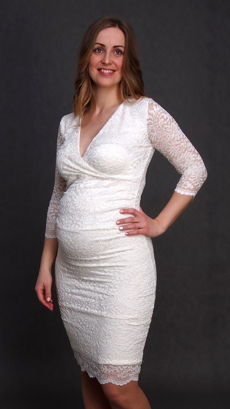 039ed23db04d Čipkované tehotenské svadobné šaty ecru - Mamimodi.sk
