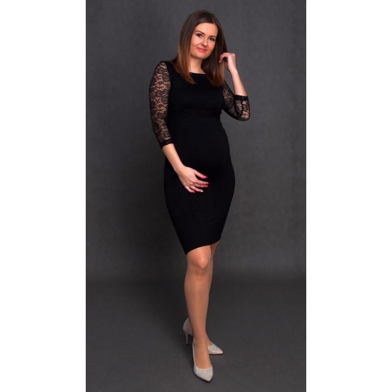 409ebcd896ae Tehotenské šaty s čipkou - čierne - Mamimodi.sk