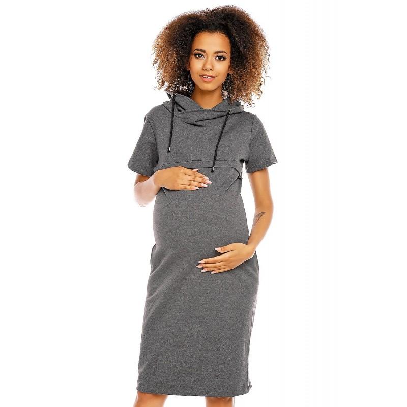 2a224d7b29 Šaty pre tehotné a dojčiace ženy PeeKaBoo - tmavošedé - Mamimodi.sk