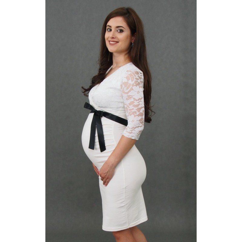 3100db70e723 Tehotenské svadobné šaty ecru - Mamimodi.sk
