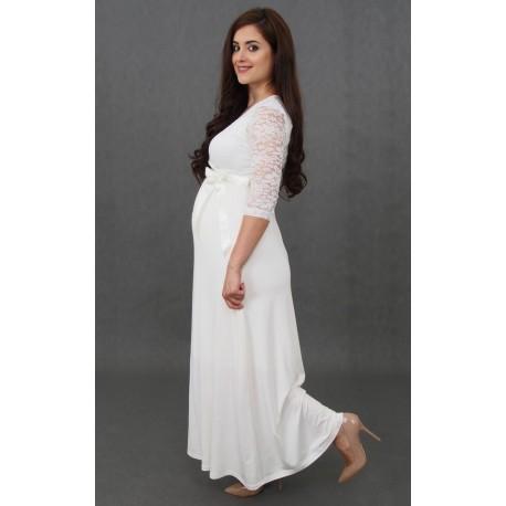 adf1b4d1884e Dlhé tehotenské svadobné šaty Vanda - ecru - Mamimodi.sk