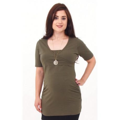 3f4da27c3b44 Tunika pre tehotné a pre dojčiace ženy - khaki - Mamimodi.sk