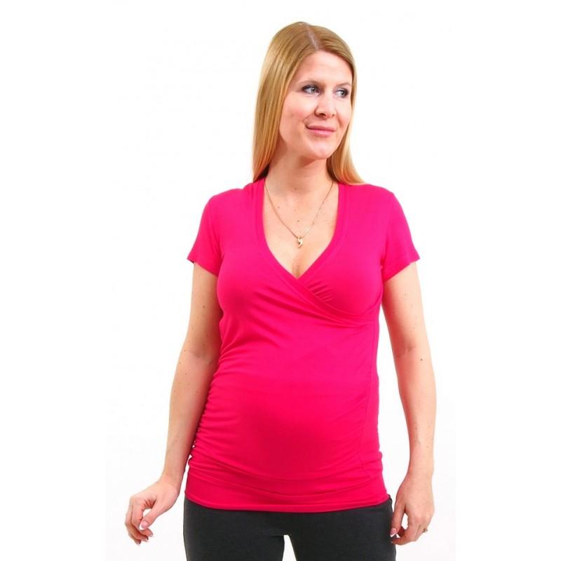 122b4d4f6a4b Tehotenské tričko s krátkym rukávom - ružové - Mamimodi.sk