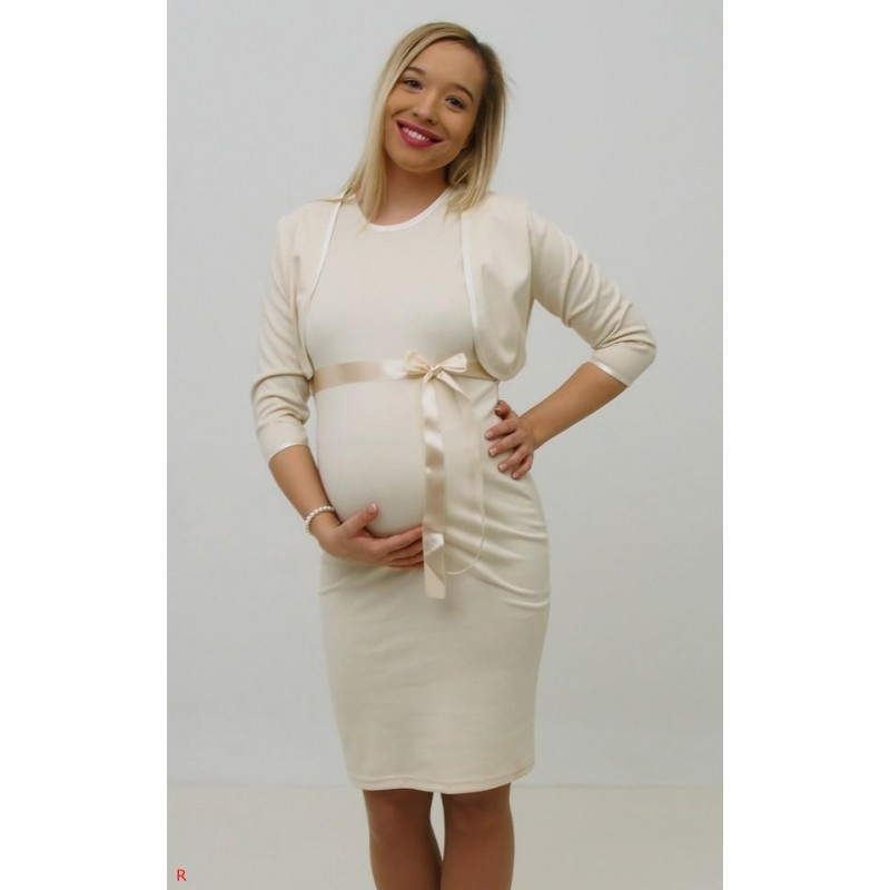 baab92140d06 Tehotenské svadobné šaty s bolerkom - ecru - Mamimodi.sk