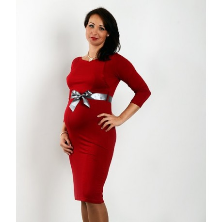 Elegantné šaty s 3 4 rukávom - červené - Mamimodi.sk d4e870e1e2c