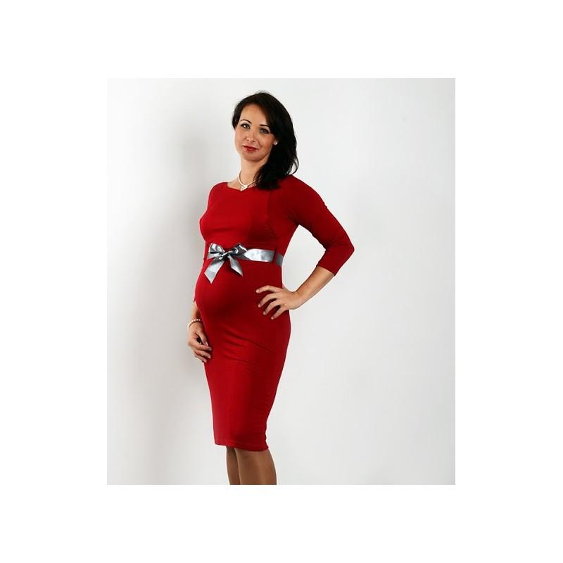 f827e335ba59 Elegantné šaty s 3 4 rukávom - červené