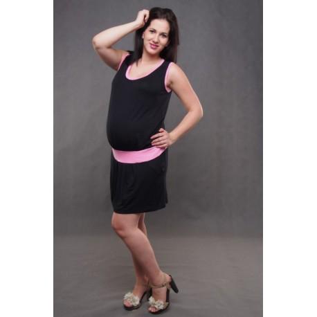 Tehotenské šaty bez rukávov čierne