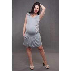 Tehotenské šaty bez rukávov sivé