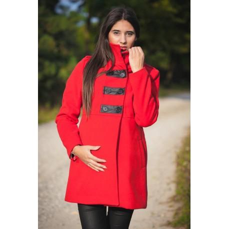 Elegantný tehotenský kabát - červený