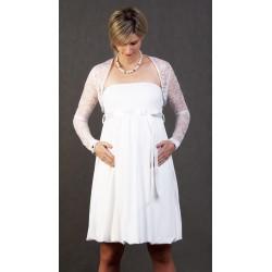 Tehotenské svadobné šaty s bolerkom - biele