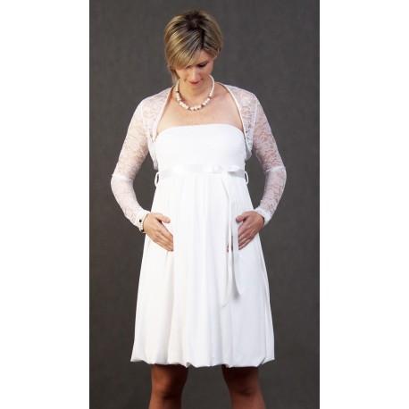 Tehotenské svadobné šaty s bolerkou - biele