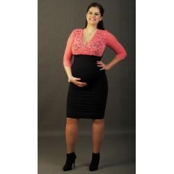 Tehotenské šaty s čipkou - čierno-koralové