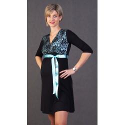 Tehotenské šaty s čipkou Vanda - čierno-zelené