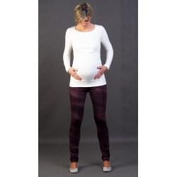 Tehotenské nohavice riflového vzhladu Renata - vínové