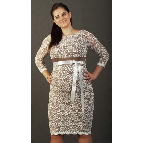 Čipkované tehotenské šaty béžové