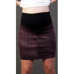 Tehotenská sukňa riflového vzhladu - vínová