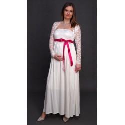 Tehotenské svadobné šaty s bolerkou - ecru