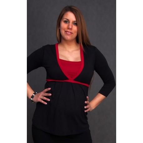Tehotenské tričko čierno-červené