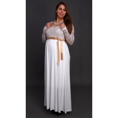 Tehotenské svadobné šaty s bolerkou - ecru/béžové