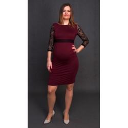 Tehotenské šaty bordové s čiernou čipkou