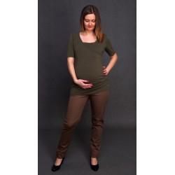 Tehotenské nohavice Renata slim - tmavohnedé