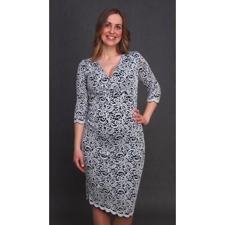 Tehotenské čipkované šaty bielo-tmavomodré