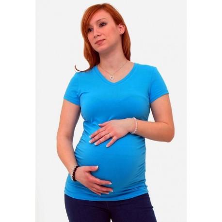 Tehotenské tričko s výstrihom do V lososové