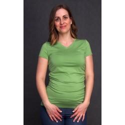 Tehotenské tričko s výstrihom do V zelené