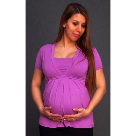 Tehotenské tričko s krátkym rukávom - fialové