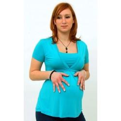 Tehotenské tričko s krátkym rukávom - tyrkys