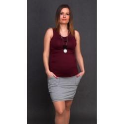 Bavlnená tehotenská sukňa - sivá