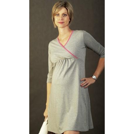 Tehotenská nočná košela Vanda - sivá