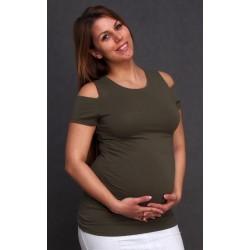 Tehotenské tričko khaki