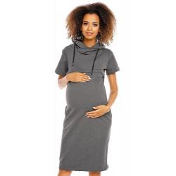 Šaty pre tehotné a dojčiace ženy PeeKaBoo - tmavošedé