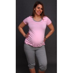 Tehotenské pyžamo ružové