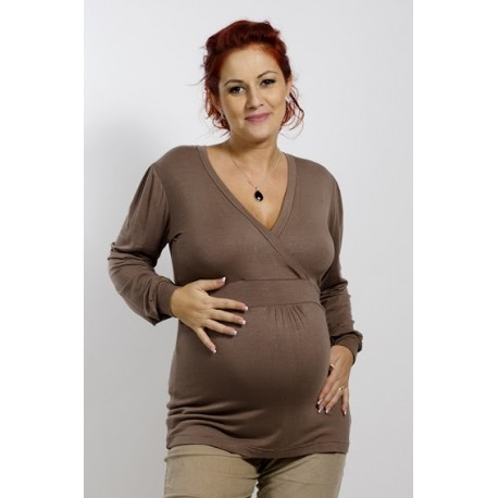Tehotenské tričko hnedé