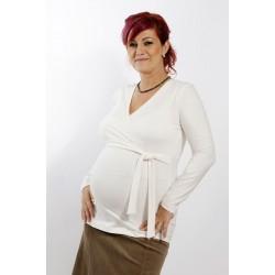 Tehotenské tričko s viazaním ecru