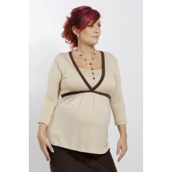 Tehotenské tričko béžové/tmavohnedé
