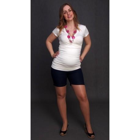 Tehotenské riflové šortky - tmavomodré