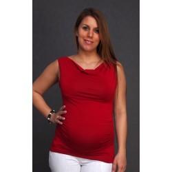 Tehotenské tričko bez rukávov - bordové