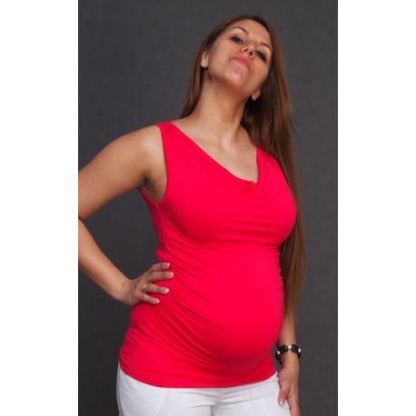 Tehotenské tričko bez rukávov - ružové