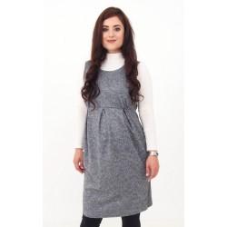 Pletené tehotenské šaty - sivé