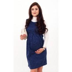 Pletené tehotenské šaty - tmavomodré