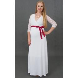 Dlhé tehotenské svadobné šaty Vanda - biele