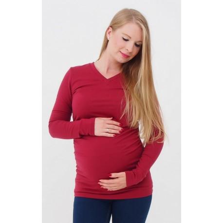 Hrubé tehotenské tričko - bordové