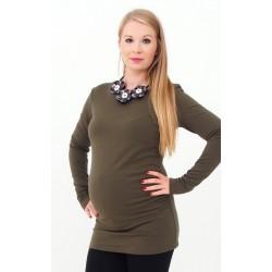 Hrubé tehotenské tričko - khaki