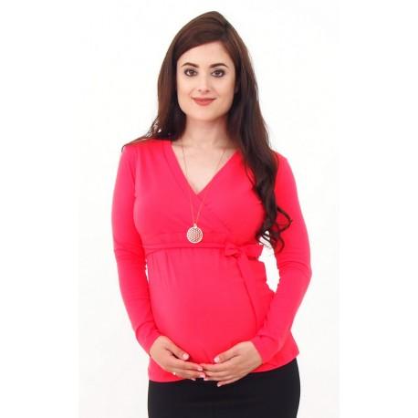 Tehotenské tričko s viazaním - lososové