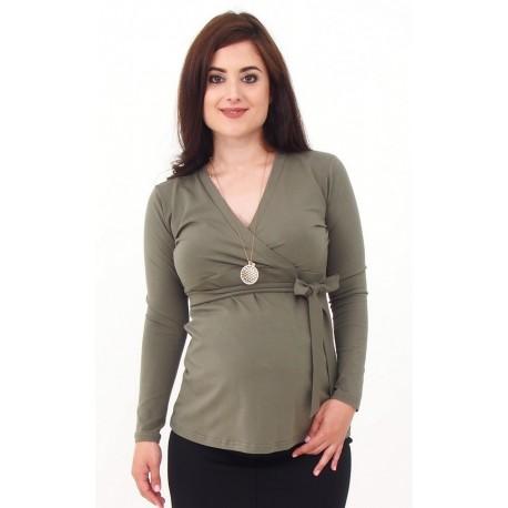 Tehotenské tričko s viazaním - khaki